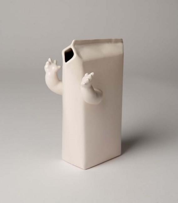 Jarrón de cerámica caja de leche con brazos