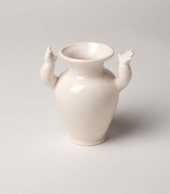 Jarrón de cerámica pequeño con brazos