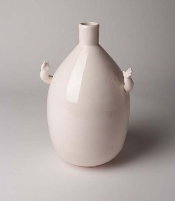 Jarrón de cerámica grande con brazos