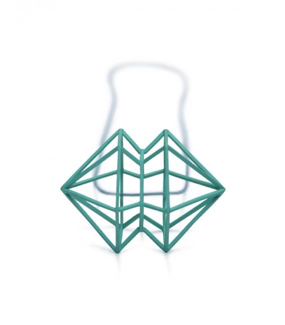 Collar verde de plata Siameses X
