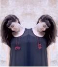 Collar rojo de plata Siameses Y