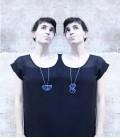Collar azul de plata Siameses Z