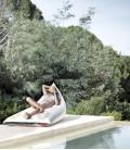 Pouf chaise longue en voile de bateau recyclée - Génois