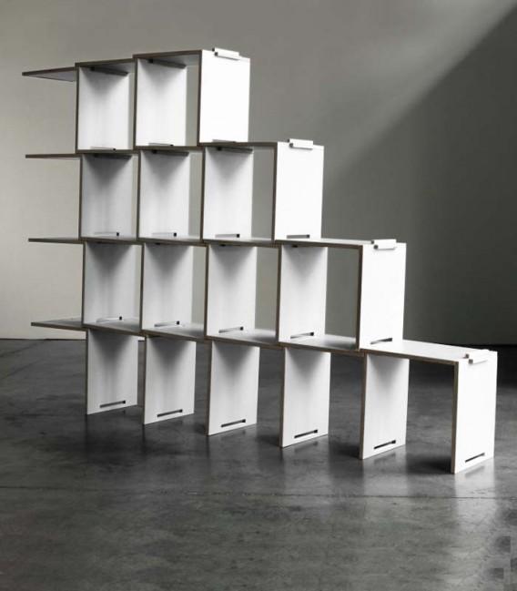 Librería modular en madera de abedúl - blanco