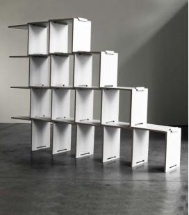 Bibliothèque modulaire en bouleau - blanche