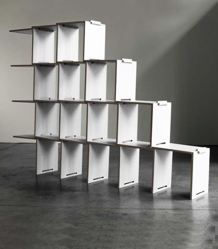 biblioth que modulaire en bouleau blanche coolfidential. Black Bedroom Furniture Sets. Home Design Ideas