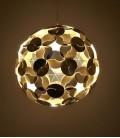 Pantalla esférica dorada y blanca para lámpara de suspensión - Ego Dama
