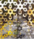 Rideau, séparateur, décoration murale - or et argent