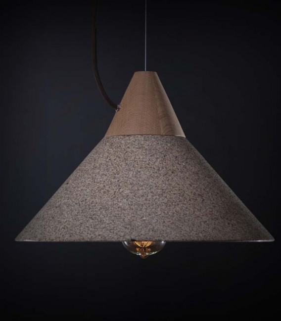 Lámpara colgante diseño en granito y madera - Mika
