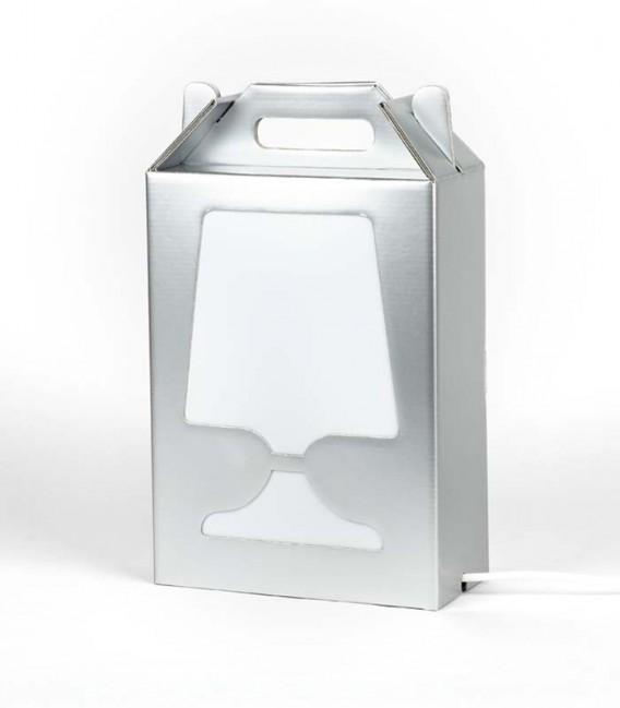 Lampe de table argentée et recyclable - Flamp argent