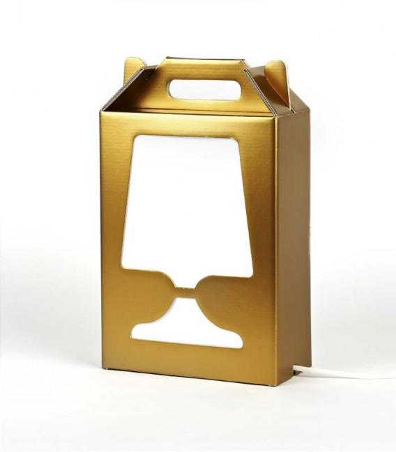 Lámpara de sobremesa dorada y reciclable - Flamp oro