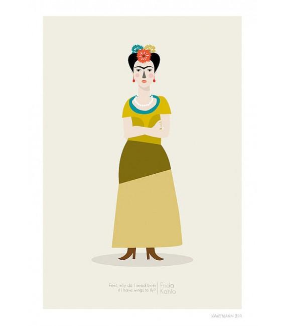Frida Kahlo - ilustración firmada por el artista