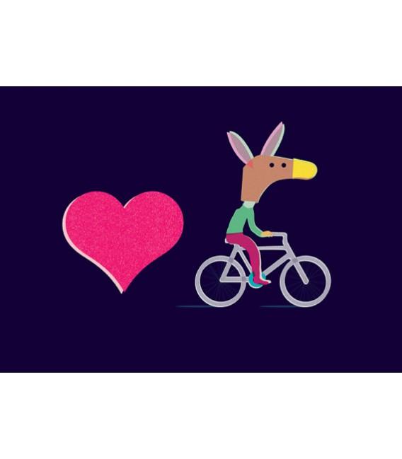 J'adore mon vélo - reproduction d'art signée par l'artiste