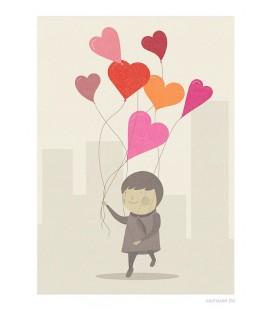 Los globos del amor - ilustración firmada por el artista