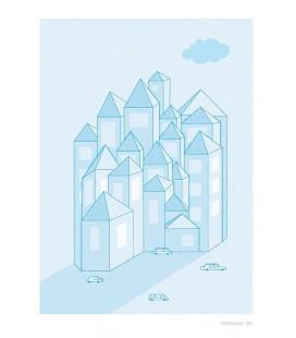 La ciudad - ilustración firmada por el artista