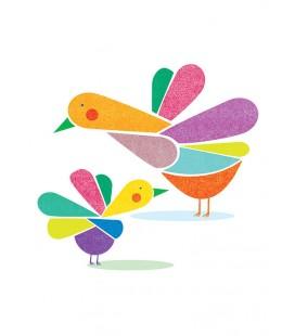 Pájaros y colores - ilustración firmada por el artista