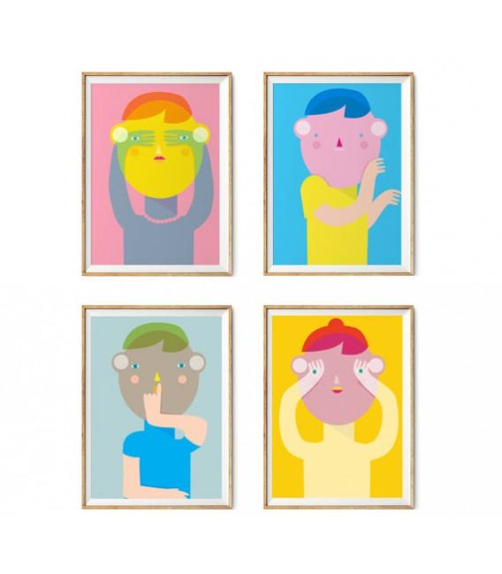 Secreto - serie de cuatro ilustraciones firmadas por el artista