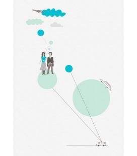 La impresión del viaje (azul) - ilustración firmada por el artista