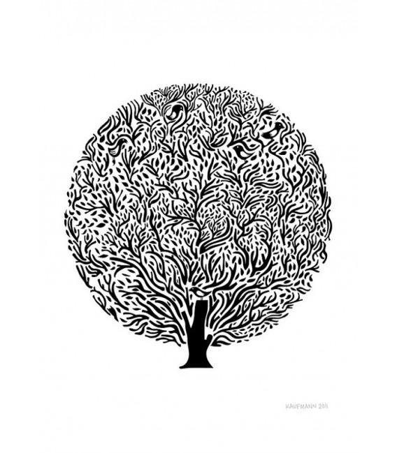Arbol negro y blanco - ilustración firmada por el artista