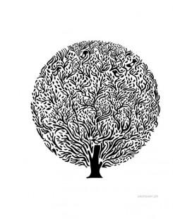 Arbre noir et blanc - reproduction d'art signée par l'artiste