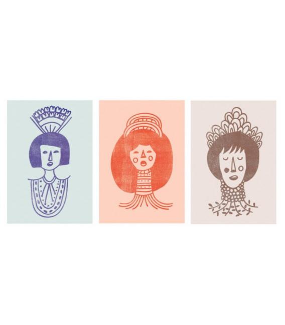 Mujeres con adornos - serie de ilustraciones firmadas