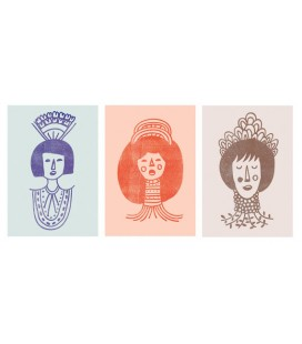 Femmes avec ornements - série de trois reproductions d'art signées