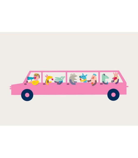 Coche rosa - ilustración firmada por el artista