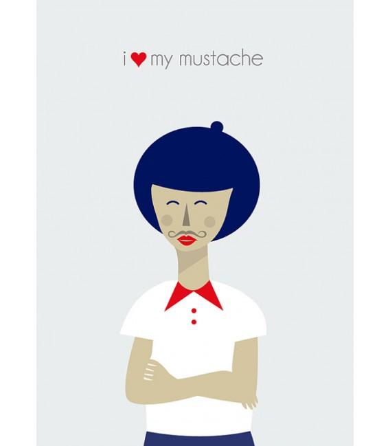 Me encanta mi bigote - ilustración firmada por el artista