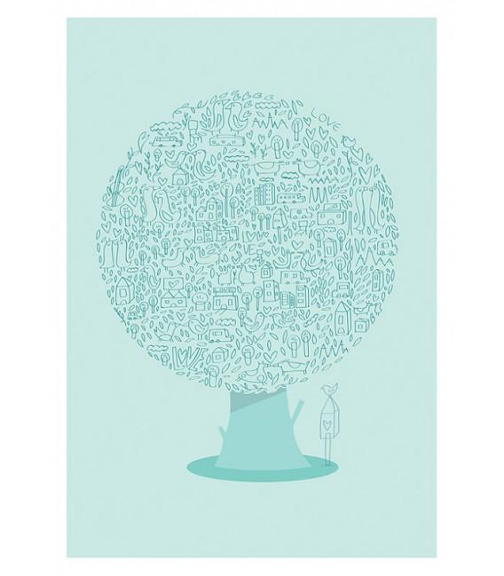 El árbol animal - ilustración firmada por el artista