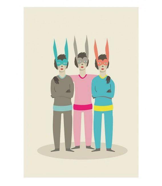 Conejos trillizos - ilustración firmada por el artista