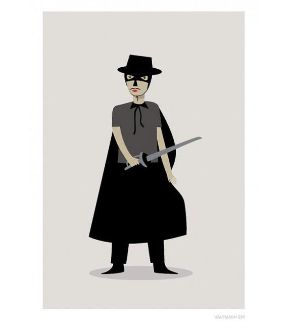 El Zorro - ilustración firmada por el artista