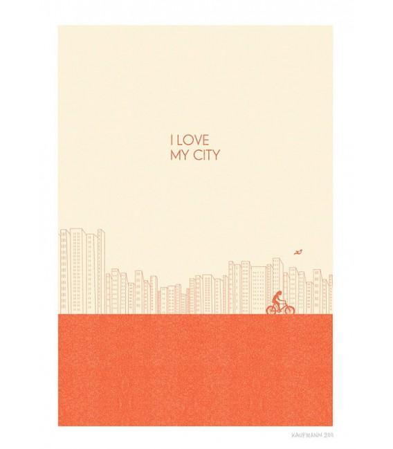 Me encanta mi ciudad (rojo) - ilustración firmada por el artista