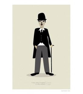 Charlie Chaplin - reproduction d'art signée par l'artiste