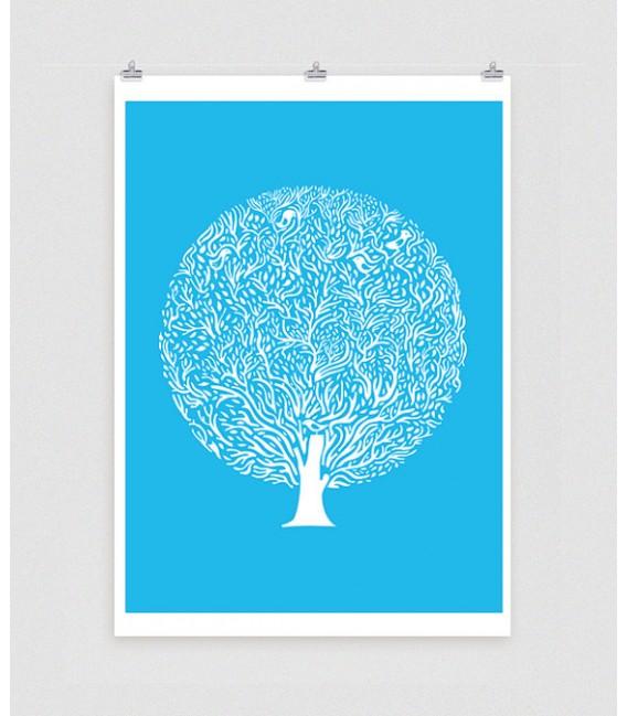 Arbre bleu - reproduction d'art signée par l'artiste