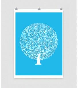 Arbol azul - ilustración firmada por el artista