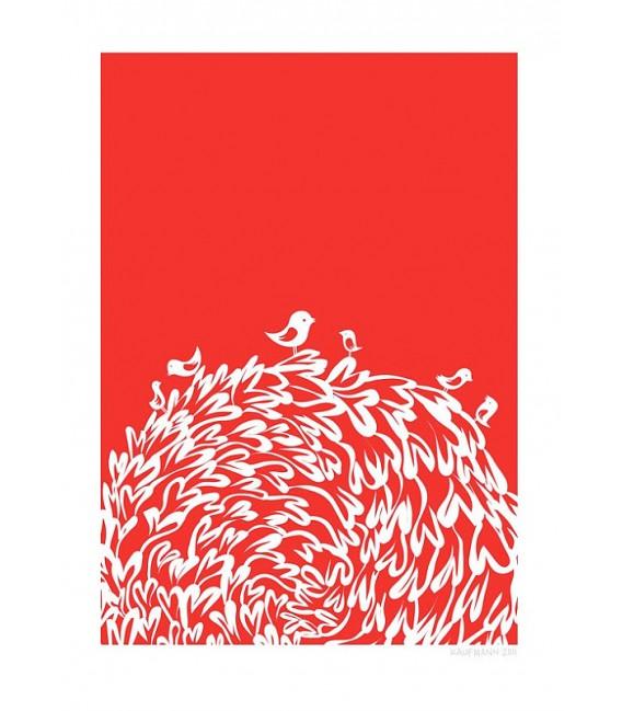 Oiseaux rouges - reproduction d'art signée par l'artiste