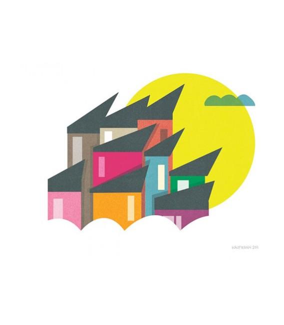 Maisons de couleurs - reproduction d'art signée par l'artiste