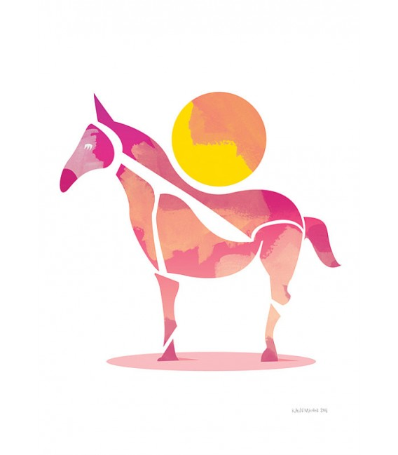 Le cheval et le soleil - reproduction d'art signée par l'artiste