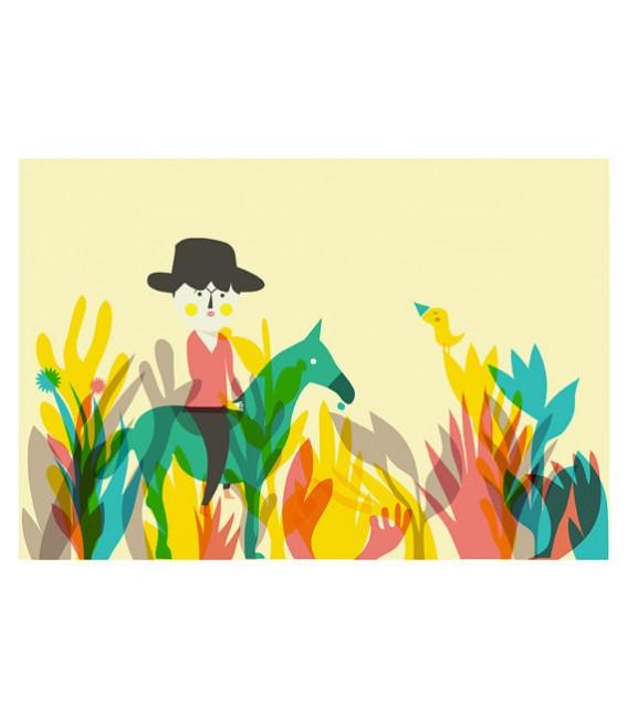 Le petit cowboy - reproduction d'art signée par l'artiste
