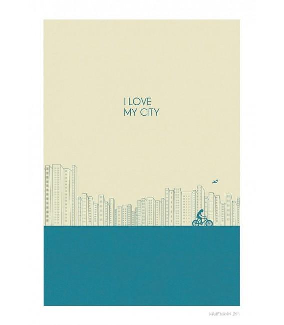 J'adore ma ville (bleu) - reproduction d'art signée par l'artiste