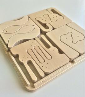 Fantástico puzzle de animales de madera.