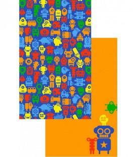 Toalla de microfibra de diseño original y colorido - robots 3