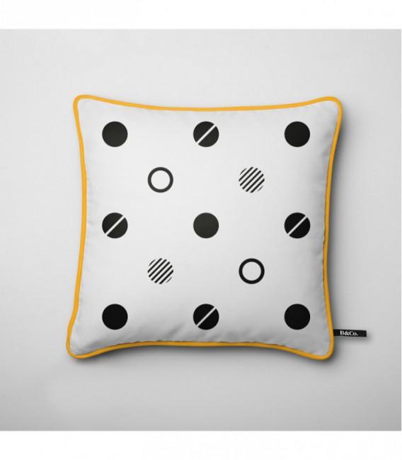 Coussin pour une déco design : cercles noirs - Trace B