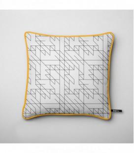 Cojín para decoración de diseño: líneas negras laberinto - Trace E