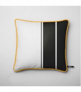 Cojín para decoración de diseño: franjas verticales negras - Trace F
