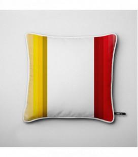 Cojín de diseño: tiras verticales en rojo y amarillo - Hues H