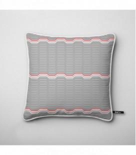 Coussin pour une déco design : vagues grises et rouges - Wave A
