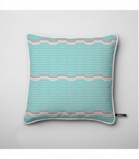 Coussin design : vagues bleues turquoises, touche de rouge - Wave C