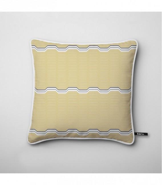 coussin pour une d co design vagues jaunes touche de. Black Bedroom Furniture Sets. Home Design Ideas