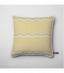 Cojín de diseño: olas amarillas, toque de gris - Wave D